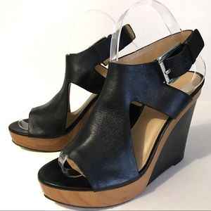 Michael Kors Leather Wedge Sandals 7-1/2